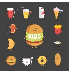 Set of cute cartoon fast food characters French vector image vector image