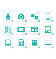 Stylized technical media and electronics icons vector
