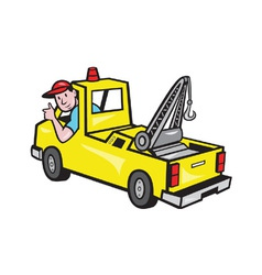 Tow Wrecker Truck Driver Thumbs Up vector image vector image