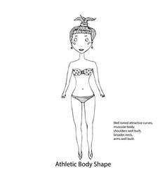 Athletic body shape female body shape sketch hand vector