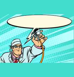 doctor physician with stethoscope says comic cloud vector image