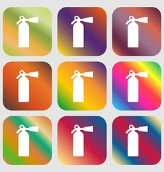 extinguisher icon Nine buttons with bright vector image