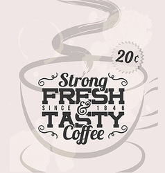 Retro Vintage Coffee Tin Sign with Grunge Effect vector image