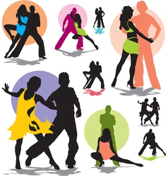 set dance stars silhouettes vector image vector image