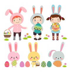 Set of characters and icons on the Easter theme vector image vector image