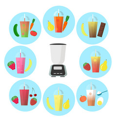 smoothie to go with different fruits and shaker vector image