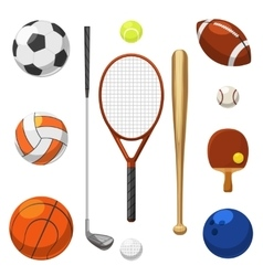 Sport equipment icons sports exercises vector