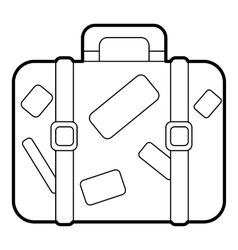 Travel suitcase with stickers icon outline style vector image vector image