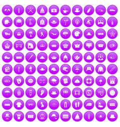 100 hat icons set purple vector