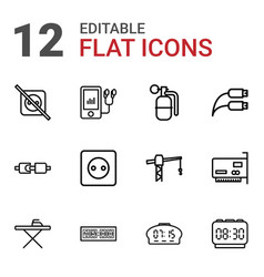 12 cable icons vector