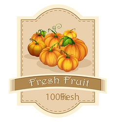A fresh fruit label with pumpkins vector