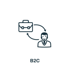 B2c icon outline style thin line creative vector