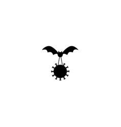 Bat flying with corona virus scene vector