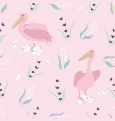 beach tropical seamless pattern with pelicans vector image
