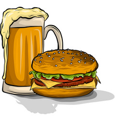 Beer and burger on white vector