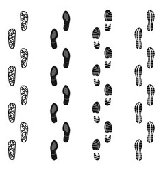 Black dirty isolated footprint track steps sport vector