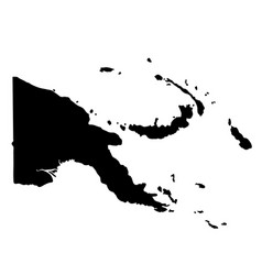 black silhouette country borders map of papua new vector image