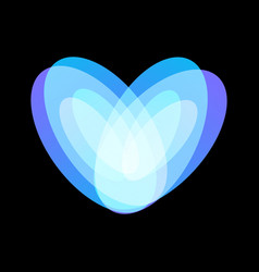 blue abstract heart symbol on black background vector image