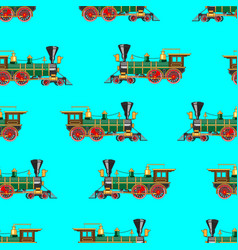 Bright cartoon steam locomotive seamless vector
