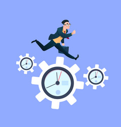 businessman running on clock cogwheels over blue vector image