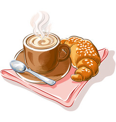 Cappuccino and croissant vector