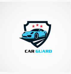 car guard with red star logo icon element vector image