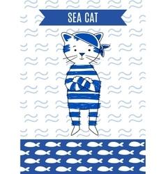 Card cute retro pirate cat sea vector
