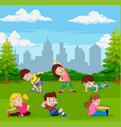 cartoon kids doing yoga in green city park vector image