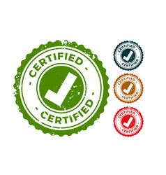 certified and approved rubber stamps seal set vector image