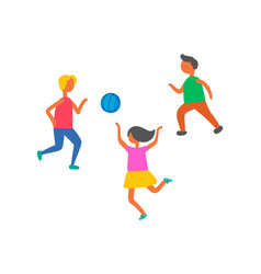 Children playing in ball outdoors isolated vector