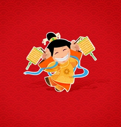 Chinese girl celebrating Chinese New Year vector