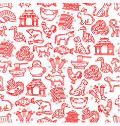 Chinese horoscope animals items seamless pattern vector