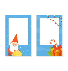 christmas gnome and gifts with blank banners set vector image