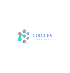 Circles abstract logo template connected dots vector
