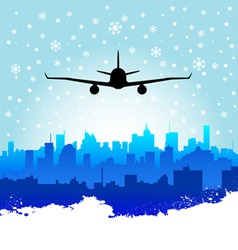 City with airplane vector