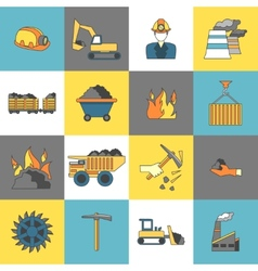 Coal Industry Icons Flat Line vector image