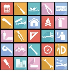 Collection flat icons with long shadow vector image