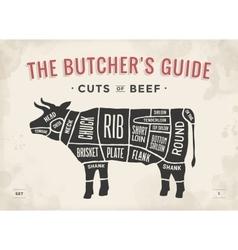 Cut beef set poster butcher diagram and scheme vector