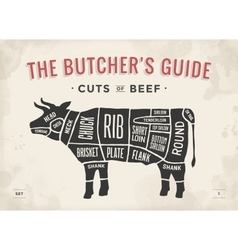 Cut of beef set Poster Butcher diagram and scheme vector