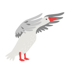 Cute white goose cartoon character flapping its vector