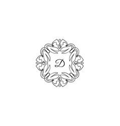 d letter logo monogram design elements line art vector image