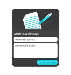 Dark contact us form with light document and blue vector