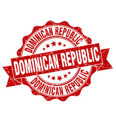 Dominican republic round ribbon seal vector