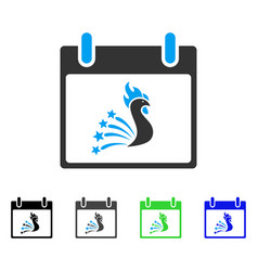 Festive rooster calendar day flat icon vector