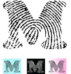 Fingerprint Alphabet Letter M vector