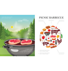 flat weekend picnic concept vector image