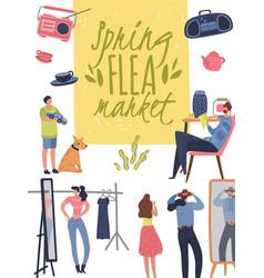 flea market poster fashionable shopping second vector image