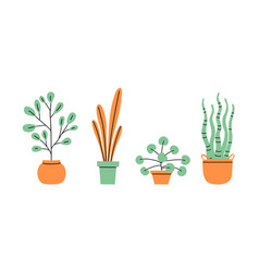 flowerpots collection flowers in vases house vector image