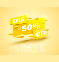 Fly banner sale off set collection color yellow vector