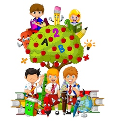 Funny children with green apple tree full of red a vector